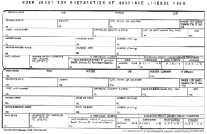 sample marriage license